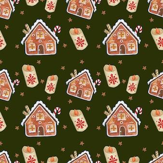 Деревенский пряничный домик акварель бесшовные модели на темно-зеленом фоне