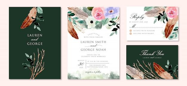 花と羽の水彩画入りの素朴な緑の結婚式の招待状