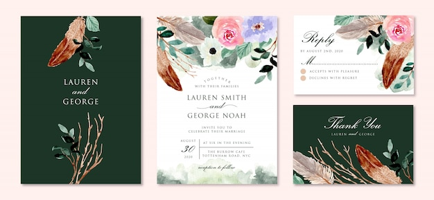 Rustic green wedding invitation set with floral and feather watercolor