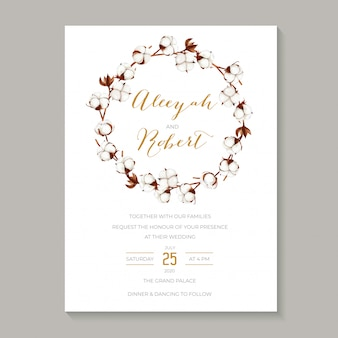 Rustic invitation with watercolor cotton flower wreath