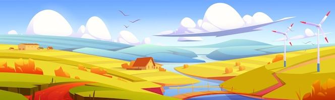Деревенский пейзаж луг сельское поле с мостом через речные стога сена и хозяйственные постройки параллакс эффект ...