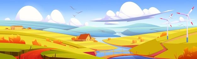 소박한 풍경, 초원, 강 위에 다리가 있는 시골 들판, 건초 더미, 농장 건물. 시차 효과, 노란색 색상의 풍경 가을 시골 자연 배경, 만화 벡터 일러스트 레이 션