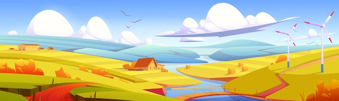 Rustic landscape meadow rural field with bridge over river hay stacks and farm buildings parallax ef...