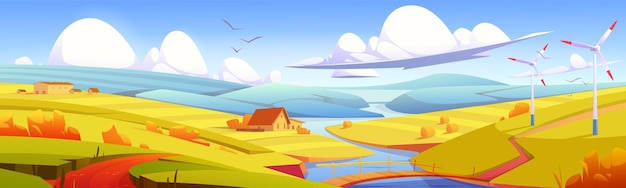 Rustic landscape, meadow, rural field with bridge over river, hay stacks and farm buildings. parallax effect, scenery autumn countryside nature background in yellow colors, cartoon vector illustration