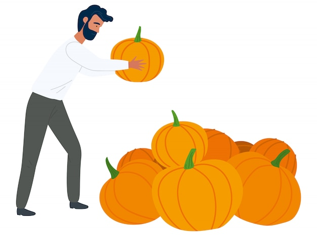 Rustic product, man with pumpkin, food