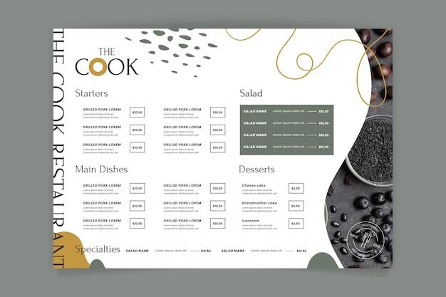 Modello di menu ristorante rustico con foto