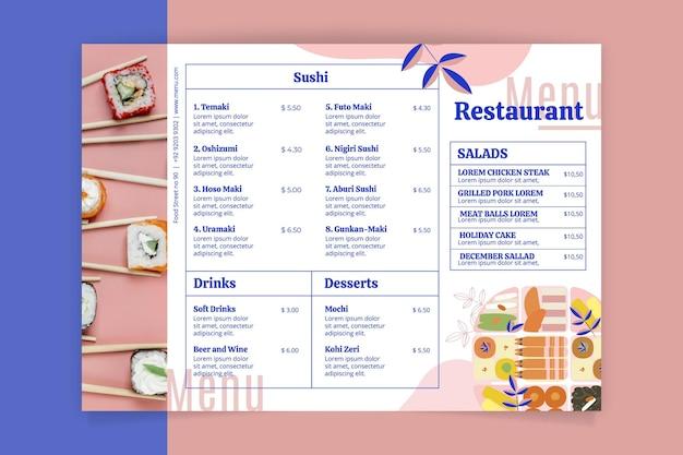 Шаблон меню ресторана в деревенском стиле с фото