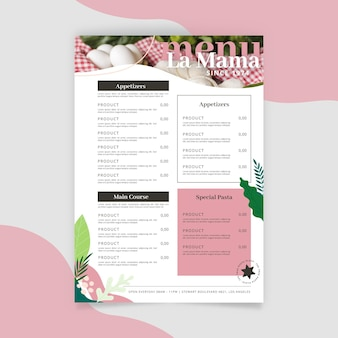 Rustic restaurant menu template with photo