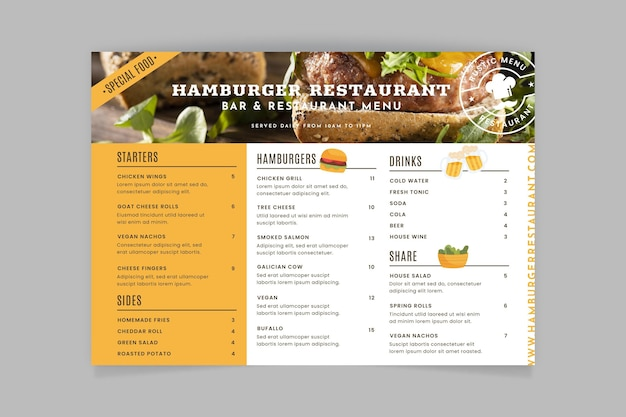 Rustic restaurant menu template with photo Free Vector
