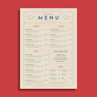 Modello di menu ristorante rustico
