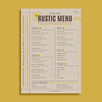Шаблон меню ресторана в деревенском стиле