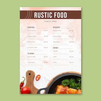 Rustic restaurant menu with photo