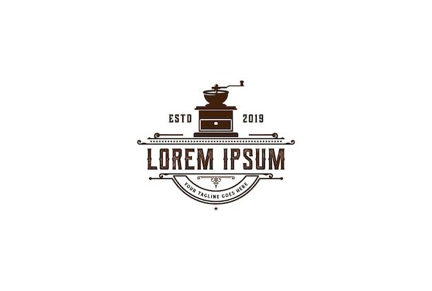 Rustic retro coffee grinder for cafe bistro restaurant or product label logo design vector