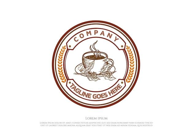 Rustic retro vintage circular coffee cup for cafe restaurant or product label logo design vector