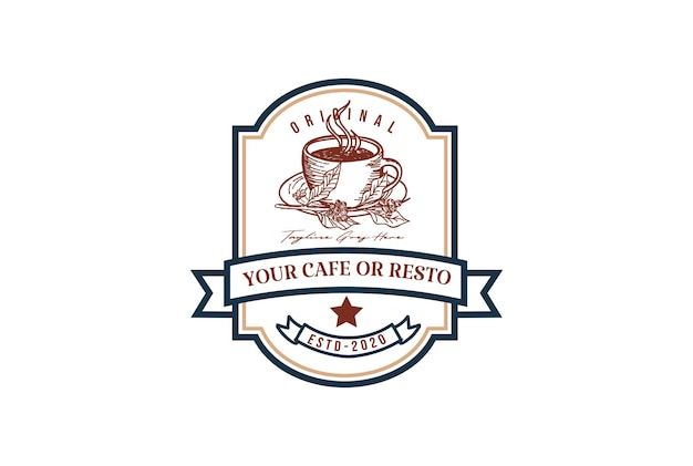 カフェレストランまたは製品ラベルロゴデザインベクトルのための素朴なレトロなヴィンテージコーヒーカップ