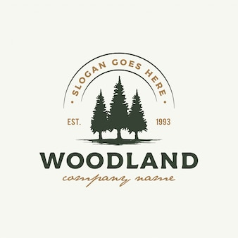 Rustic retro vintage woodland, evergreen, pines, spruce, cedar trees logo design