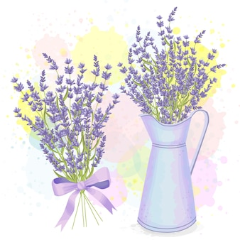 Rustic set of watercolor lavender decorations