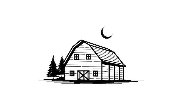 Rustic vintage barn illustration,