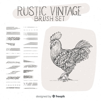 Rustic vintage brush set