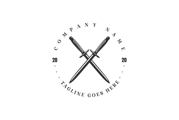 タトゥーロゴデザインベクトルのための素朴なヴィンテージ交差短剣ナイフ