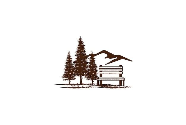松杉針葉樹常緑カラマツの木とガーデンパークのロゴデザインベクトルのための木製ベンチと素朴なヴィンテージマウンテンヒル