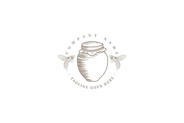 소박한 빈티지 레트로 꿀 꿀벌 농장 제품 라벨 로고 디자인 벡터