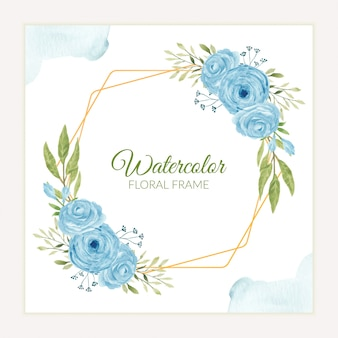 Rustic watercolor blue rose flower frame decoration