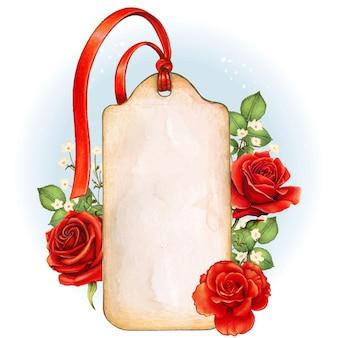 素朴な水彩画のぼろぼろのシックなヴィンテージタグと赤いバラ