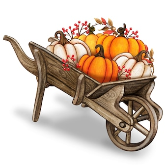 Rustic watercolor vintage wheelbarrow with colorful pumpkins and autumn leaves