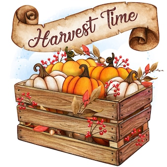 Rustic watercolor wooden crate with pumpkins and scroll banner