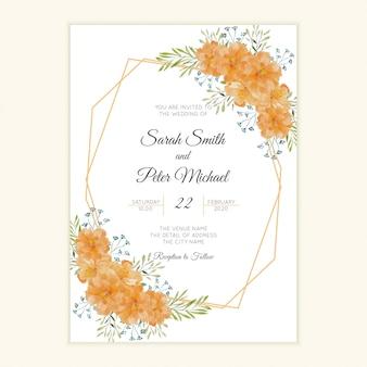 水彩花のフレームと素朴な結婚式の招待カード