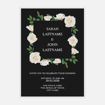 Rustic wedding invitation card with white rose flower wreath