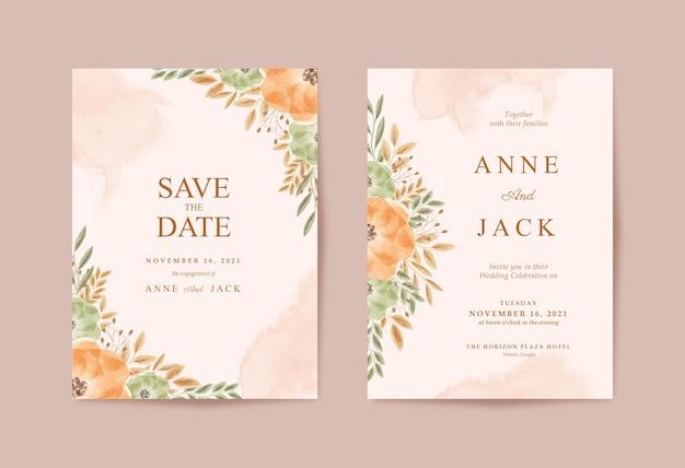 Деревенское свадебное приглашение с красивой акварельной цветочной коллекцией