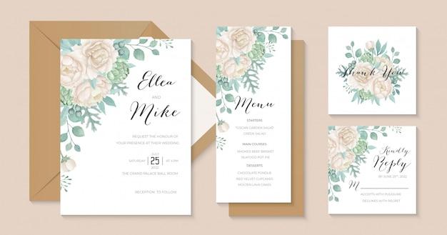 素朴な白い牡丹の結婚式の招待状のテンプレート
