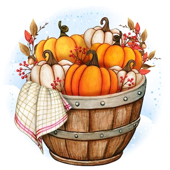 Rustic wooden half barrel with pumpkins and country towel