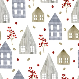 Rustic wooden houses seamless pattern watercolor background