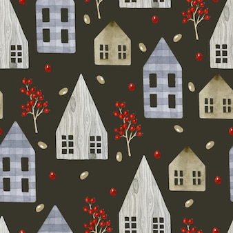 Rustic wooden houses with berries seamless pattern watercolor on dark background