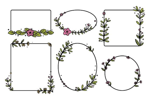 손으로 그린 꽃이 있는 소박한 화환 분배기. 직사각형 및 원형 낙서 화환