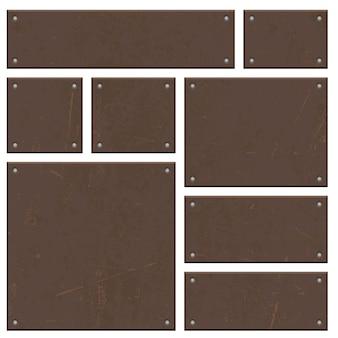 Ржавая железная доска набор векторных дизайн, изолированные на белом фоне