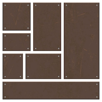 Rusty iron board set vector design isolated on white