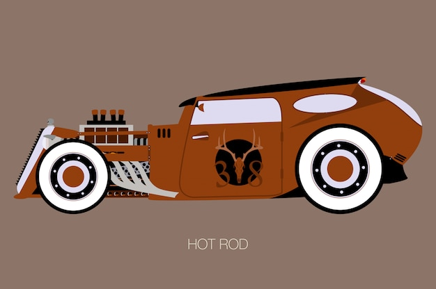 Rusty rat rod, side view of car, automobile, motor vehicle