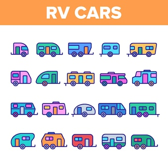 Rv camper cars vehicle icons set