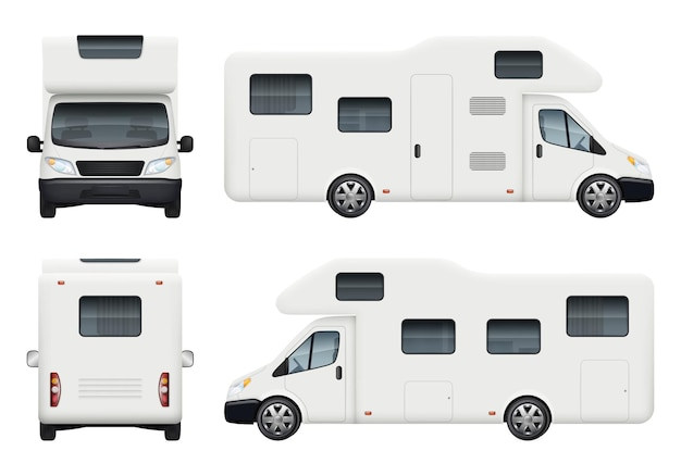 Rv camper. realistic family camping trailer for travelling and have a rest car back top and front sides view  set.