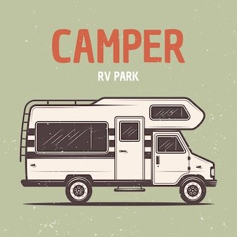 Rv camper van vector colored illustration in retro style