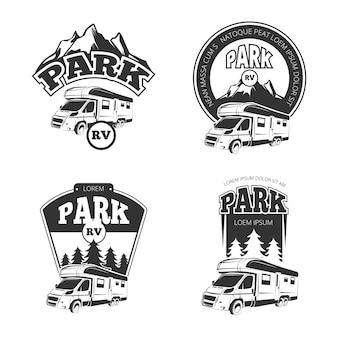 Emblemi di camper e camper, etichette, distintivi, set di loghi.