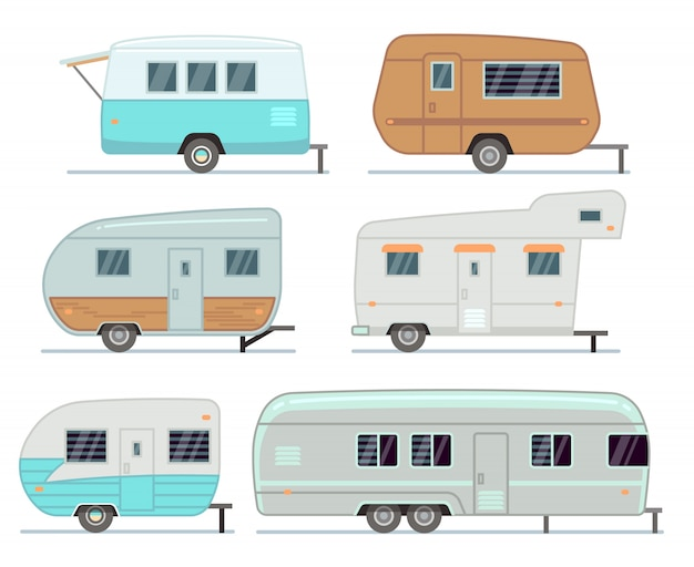 Rv camping trailers, travel mobile home, caravan vector set isolated