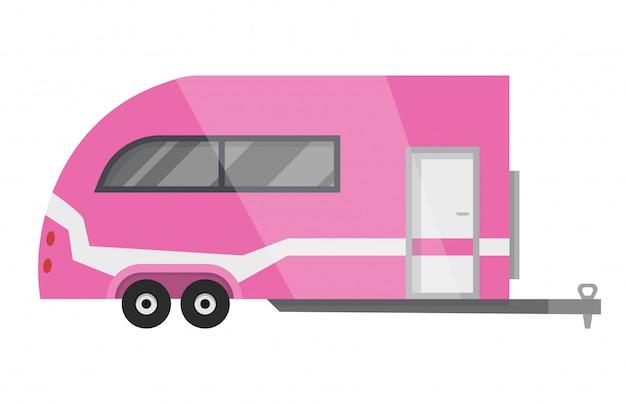 フラットクラシックキャンピングカートレーラー。 rv車。車輪の上の家。自然へのrv家族旅行のための快適なキャラバンバン。