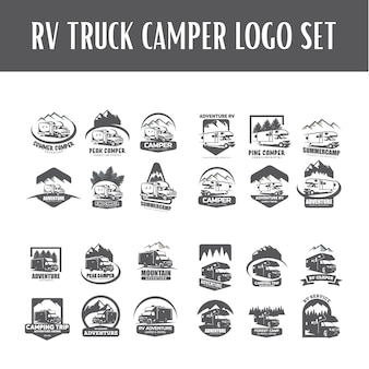 Rv truck camper logo template set