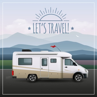 Давайте путешествуем, плакат с реалистичным реалистичным транспортным средством rv на кемпинге едет по дороге
