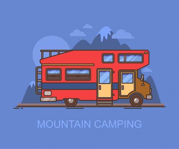 山の近くのキャンピングカーまたはrv車